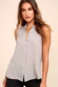 Marseille Grey Button-Up Top