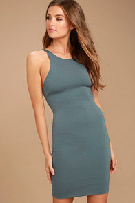 Essential Spice Slate Blue Bodycon Dress 1