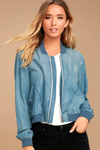 Easygoing Blue Chambray Bomber Jacket