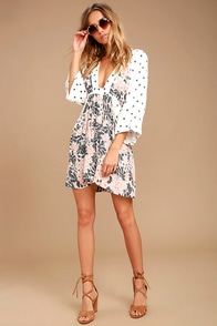 Free People Tallula White Print Long Sleeve Mini Dress