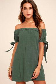 Al Fresco Evenings Olive Green Off-the-Shoulder Dress