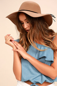 Dear Dreamer Light Brown Floppy Wool Hat