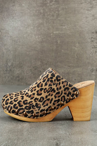 Free People Ring Leader Leopard Suede Leather Platform Clogs