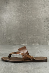 Seychelles Mosaic Brown Leather Thong Sandals