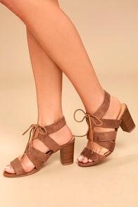 Jelena Camel Suede Lace-Up Heels