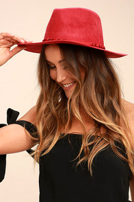 What I Like Red Suede Fedora Hat