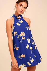 Darling Dearest Royal Blue Floral Print Swing Dress