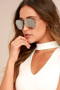 Stun-Shine Silver Mirrored Aviator Sunglasses