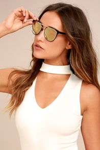Look the Part Rose Gold and Black Sunglasses