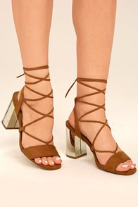 Afina Tan Suede Lace-Up Heels