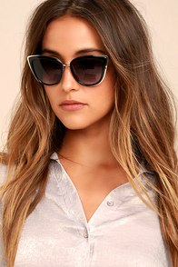 Living it Up Black Cat-Eye Sunglasses