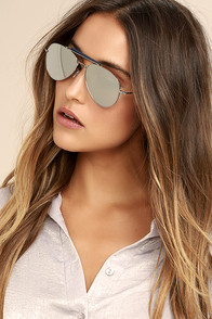 Perverse Khaliel Silver Mirrored Aviator Sunglasses