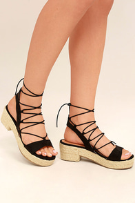 Jenay Black Lace-Up Espadrille Platforms
