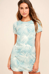 Cancun Calling Dusty Sage Print Shift Dress