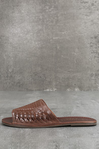 Coconuts Mateo Saddle Brown Leather Slide Sandals