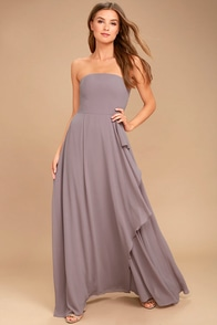 Sweetest Kiss Taupe Strapless Maxi Dress