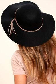 Dear Dreamer Black Floppy Wool Hat