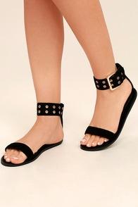 Lareen Black Suede Flat Sandals