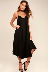 Lasting Memories Black Midi Dress