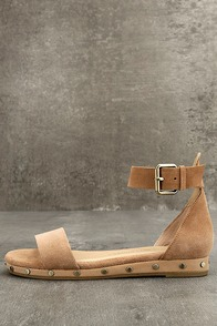 Chinese Laundry Grady Camel Suede Leather Ankle Strap Sandals