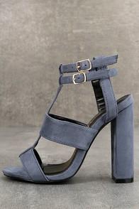 Idalia Blue Suede Strappy Peep Toe Heels