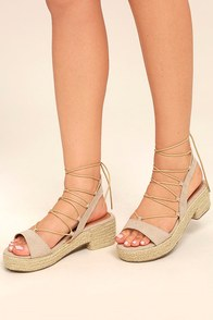 Jenay Natural Lace-Up Espadrille Platforms
