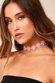 Wildflower Power Blush Pink Lace Choker Necklace