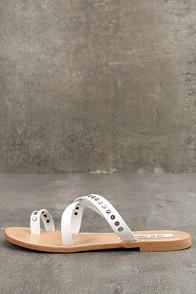 Steve Madden Becky White Leather Flat Sandals
