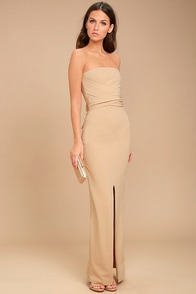 Own the Night Beige Strapless Maxi Dress