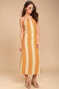 Faithfull the Brand Tuscany Yellow Striped Midi Dress