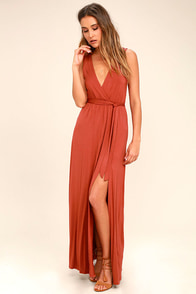 Take a Cruise Rust Red Maxi Dress