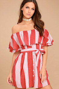Faithfull the Brand Amalfi Rust Red Striped Dress