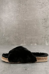 BC Footwear Myth Black Faux Fur Slide Sandals