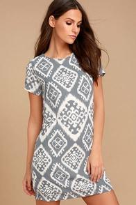 Give Me a Print Slate Grey Print Shift Dress