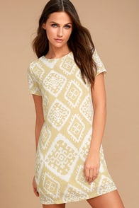 Give Me a Print Beige Print Shift Dress