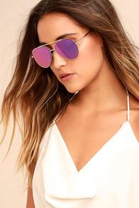Perverse Bronson Gold and Purple Mirrored Aviator Sunglasses