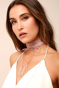 New Friends Colony Crystal Mauve Beaded Choker Necklace