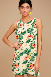 Waikiki Wonder Beige Tropical Print Shift Dress