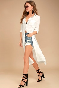Sweet Cottage White Long Sleeve Cover-Up