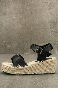 Mignon Black Espadrille Wedges