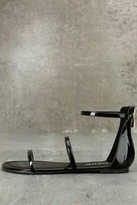 Lorelei Black Patent Ankle Strap Flat Sandals