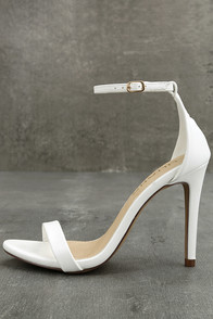 Queena White Ankle Strap Heels