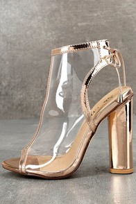 Hadya Rose Gold Lucite Peep-Toe Booties