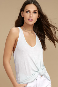 Knot So Basic Light Blue Tank Top