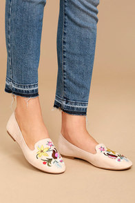 Arvida Nude Suede Embroidered Loafer Flats