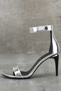 Kendall + Kylie Madelyn3 Silver Ankle Strap Heels