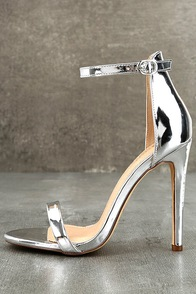 Almonaster Silver Patent Ankle Strap Heels