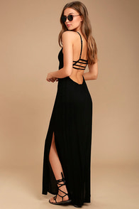 RVCA Hazel Black Backless Maxi Dress