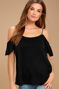 All of a Sudden Black Off-the-Shoulder Top