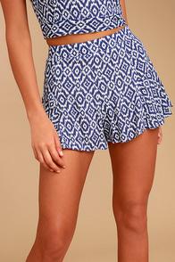Lucy Love Racetrack Blue Ikat Print Shorts